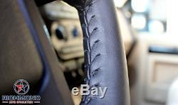 2007-2014 GMC Sierra SLT Z71 SLE Denali-Leather Wrap Steering Wheel Cover, Black