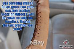 2007 Ford F-150 King Ranch F150 -Leather Steering Wheel Cover, 2-Stitch Style