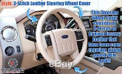 2008-2009 Ford F250 F350 F450 F550 Lariat -Leather Wrap Steering Wheel Cover Tan