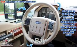 2008 2009 Ford F-250 F-350 Lariat-Leather Steering Wheel Cover withNeedle & Thread