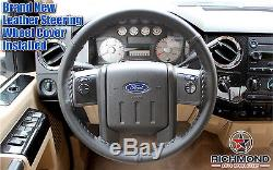 2008-2010 Ford F250 F350 F450 F550 XL -Leather Wrap Steering Wheel Cover, Black