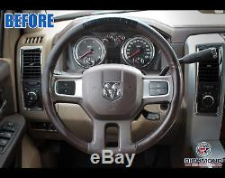 2009 2010 2011 2012 Dodge Ram Long Horn -Leather Wrap Steering Wheel Cover Brown