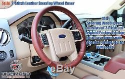 2009 2010 F-250 F-350 King Ranch Leather Steering Wheel Cover 2-Stitch Style