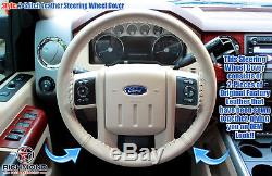 2009-2010 Ford F250 F350 F450 F550 Lariat -Leather Wrap Steering Wheel Cover Tan