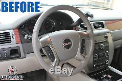 2009 2010 GMC Sierra 1500 SLT Denali SLE Z71 -Leather Steering Wheel Cover Gray