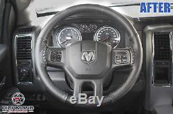 2009-2012 Dodge Ram 1500 2500 3500 Leather Wrap Steering Wheel Cover, Black