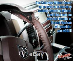 2009-2012 Dodge Ram 1500 2500 3500 Sport -Leather Steering Wheel Cover, Dk Brown
