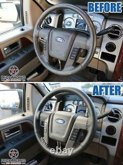 2009-2014 Ford F150 Lariat -Black Leather Steering Wheel Cover withNeedle & Thread