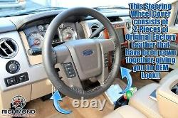 2009-2014 Ford F-150 Platinum Ed F150 Leather Wrap Steering Wheel Cover, Black