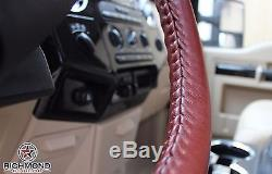 2011-2012 Ford F250 F350 King Ranch-Leather Steering Wheel Cover- 2-Stitch Style