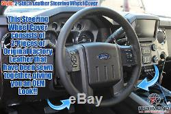 2011-2016 F250 F350 Lariat -Black Leather Steering Wheel Cover withNeedle & Thread