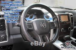 2013 2014 2015 2016 Dodge Ram 1500 2500 3500-Leather Steering Wheel Cover, Black