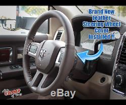 2013 2014 Dodge Ram 1500 2500 3500 Laramie -Leather Steering Wheel Cover, Brown
