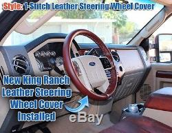 2013-2014 Ford F250 F350 King Ranch-Leather Steering Wheel Cover- 1-Stitch Style