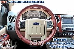 2013-2014 Ford F250 F350 King Ranch-Leather Steering Wheel Cover- 2-Stitch Style