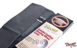2013-2017 Dodge Ram 1500 2500 3500 -Leather Wrap Steering Wheel Cover, Black