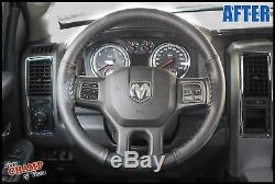 2013-2017 Dodge Ram 1500 2500 3500 -Leather Wrap Steering Wheel Cover, Black