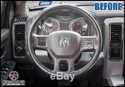 2013-2018 Dodge Ram 1500 2500 3500 Leather Wrap Steering Wheel Cover, Black