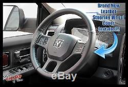 2014 2015 2016 Ram 1500 2500 3500 Laramie -Leather Steering Wheel Cover, Black