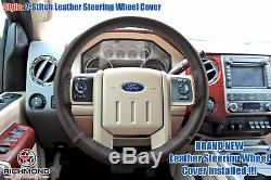 2015 2016 F-250 F-350 King Ranch Mesa Antique -Leather Wrap Steering Wheel Cover