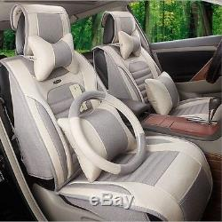 2016 NEW flax Car Seat Cushion 10pcs / set For All Car + steering wheel cover