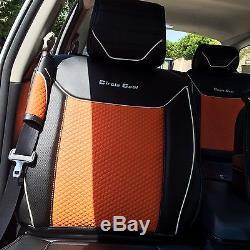 2016 Orange PVC Leather Car Seat Cover Set Head Rest Steering Wheel Shift Knob