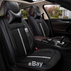2 Black fiber Car fron Seat Cover+ 1 Rear seat cover with Steering wheel cover