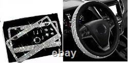 2 Made with SWAROVSKI CRYSTAL License Plate Frame Steering Wheel Cover Bling Cap