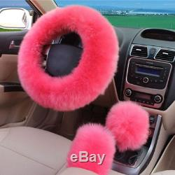 2x Car Seat Cover + 1x Steering Wheel Cover Winter Essential Universal Pink Wool