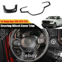 2x Carbon Fiber Car Inner Steering Wheel Cover Trim For Dodge Ram 1500 2019-2021