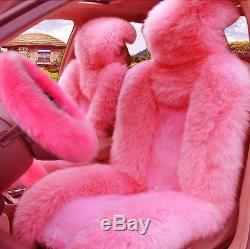 2x Front Car SUV Seat Covers + 1x Auto Steering Wheel Cover Winter Pink Fur Wool