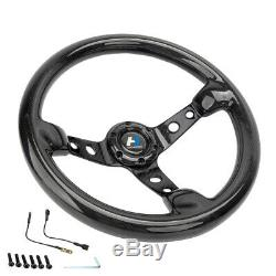 320MM 13 Inch Black Real Carbon Fiber Spoke Steering Wheel Horn Button 6 Holes