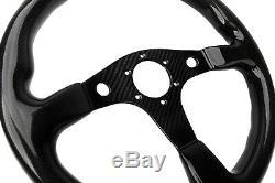 350MM 14 Full Glossy Finish Carbon Fiber Steering Wheel Flat Bottom Horn Button