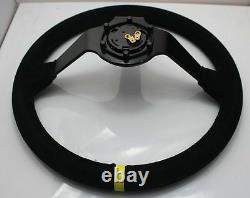 350mm/14inch Deep Dished Sport Racing Suede Leather Alloy Car Steering Wheel