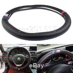 38cm M Performance Carbon Fiber Non-Slip Luxury Car Steering Wheel Cover For BMW