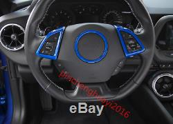 3PCS Blue ABS Interior Steering Wheel Cover Trim for Chevrolet Camaro 2016-2017