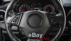 3PCS Carbon Fiber Inner Steering wheel cover trim for Chevrolet Camaro 2016-2017