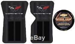 3 Piece Corvette Black Front Floor Mats Speed Grip Steering Wheel Cover Set