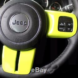 3pcs Green Steering Wheel Cover 3D Interior Trim Fit for Jeep wrangler 2011-2015
