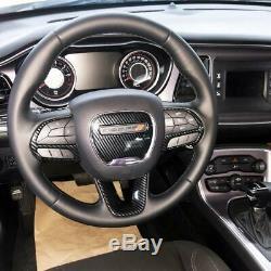 4PCS Steering Wheel Carbon Fiber Cover Trims kit for Dodge Challenger Charger