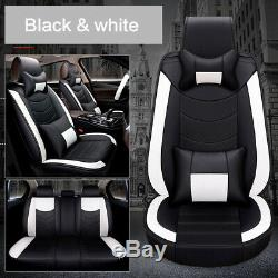 5D 5 Seat Car PU Leather Front+Rear Seat Cover+Pillow+Steering Wheel Cover Set