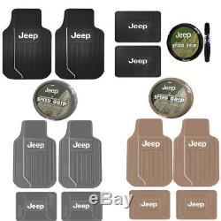 5PC Jeep Elite Heavy Duty Rubber Front Rear Floor Mats Steering Wheel Cover Set