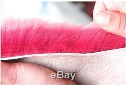 5Pcs Pink Wool Fur Car Front Seat Covers Steering Wheel Cover Winter Essential