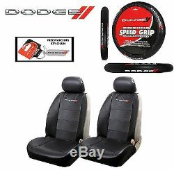 5 PC Dodge Elite Seat Covers & Steering Wheel Cover Synth Leather Fast Shipping