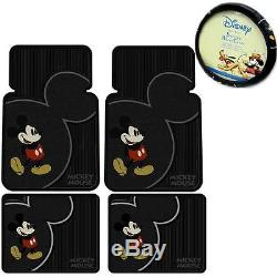 5 Piece Mickey Mouse Vintage Front Rear Rubber Floor Mats Steering Wheel Cover S