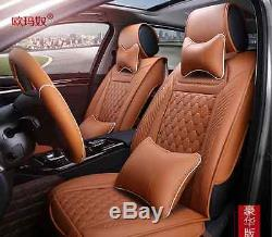 5 seat Genenal Car Seat Cover PU Leather Fit for all car + steering wheel cover