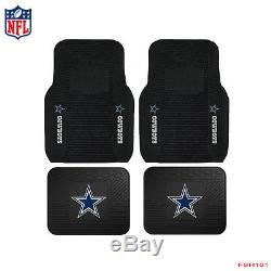 5pcs Set NFL Dallas Cowboys Car Truck Rubber Floor Mats and Steering Wheel Cover