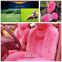 5pcs/set Fur Car Seat&Steering Wheel Cover Pink Wool Furry Faux Three Season