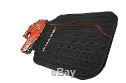 6 Pc Dodge Elite Front/Rear Rubber Floor Mats + Steering Wheel Cover + Sun Shade