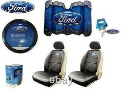 7 Pc Ford Elite Seat Covers Black Syn Leather & Steering Wheel Cover & Sun Shade